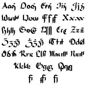 The calligraphic version of Qvaak's script.